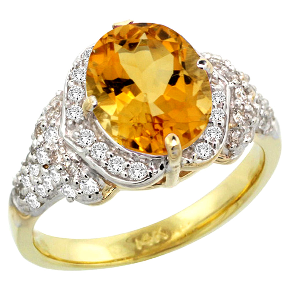 Sabrina Silver 14k Gold ( 10x8 mm ) Halo Engagement Citrine Ring w/ 0.52 Carat Brilliant Cut Diamonds & 2.30 Carats Oval Cut Stone, 7/16 in. (1 at Sears.com