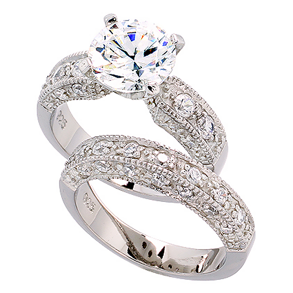 sterling silver vintage style 2 piece cubic zirconia ring set with 9 mm 2 - High Quality Cubic Zirconia Wedding Rings