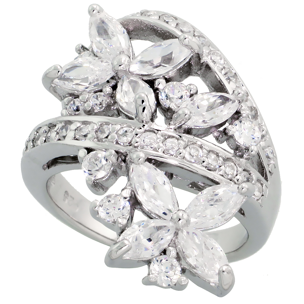 Sabrina Silver Sterling Silver Flower Garden Cubic Zirconia Ring with  carat size Marquise Cut Stones, 1 1/8 inch (28 mm) wide at Sears.com