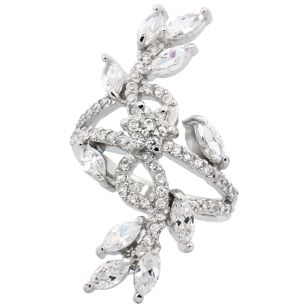 Sabrina Silver Sterling Silver Flower Vine Cubic Zirconia Ring with carat Marquise Cut CZ Stones, 1 1/2 inch (39 mm) ...