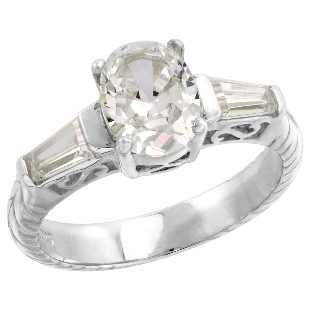 Sabrina Silver Sterling Silver 1.25 Carat Size Oval Cut Cubic Zirconia Bridal Ring (Available in Sizes 6 to 10)