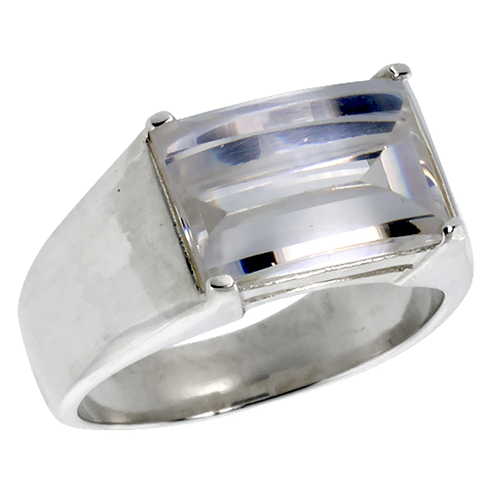 Mens Sterling Silver Cubic Zirconia Ring Cabochon Stone, sizes 8 to 13
