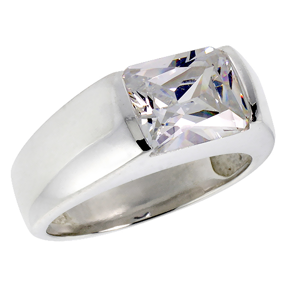 Mens Sterling Silver Cubic Zirconia Solitaire Ring Emerald Cut 3 ct size, sizes 8 to 13