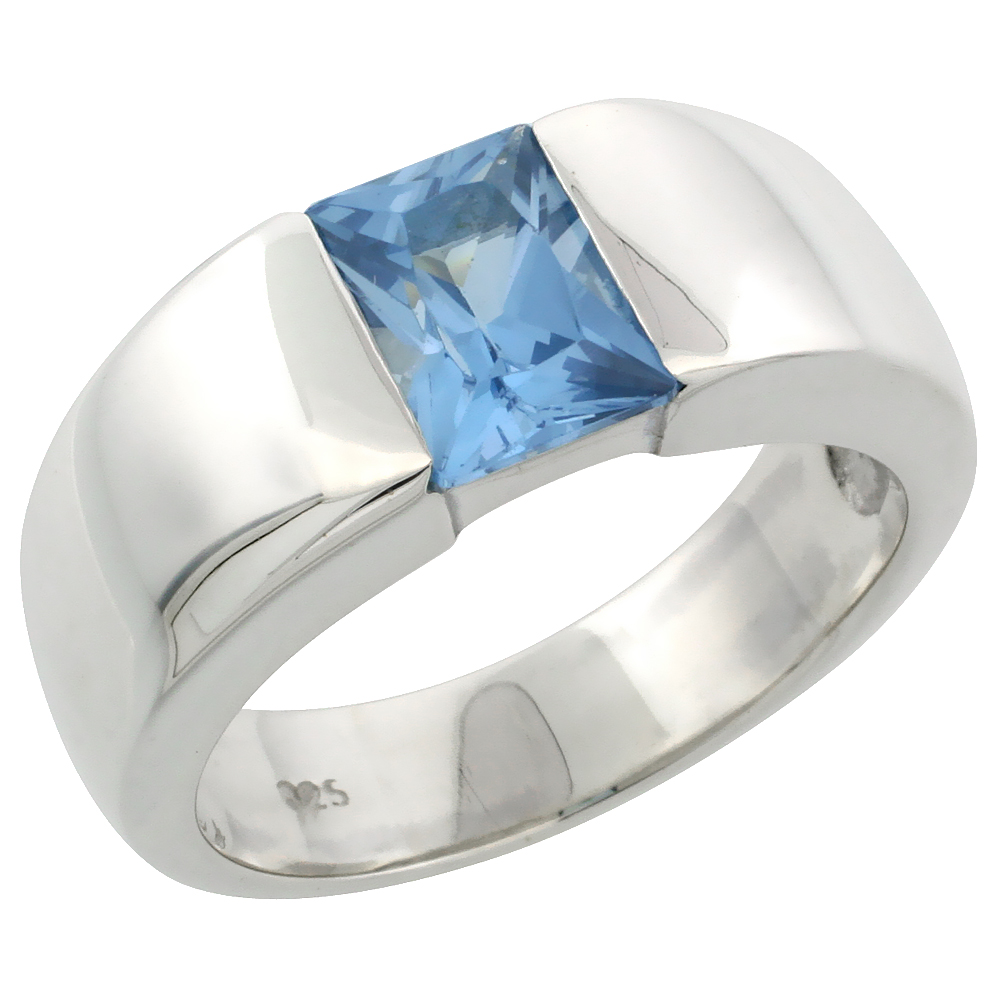 Mens Sterling Silver Blue Topaz CZ Solitaire Ring Emerald Cut 1.5 ct size, sizes 8 to 13