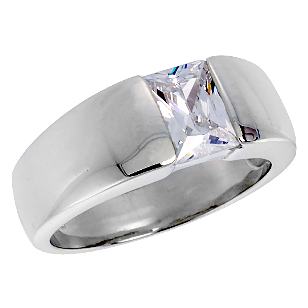 Mens Sterling Silver Cubic Zirconia Solitaire Ring Emerald Cut 1.5 ct size, sizes 8 to 13