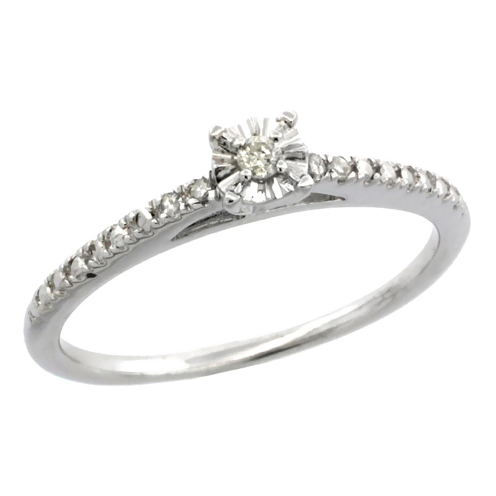 Sterling Silver Diamond Solitaire Engagement Ring Rhodium Finish, sizes 5 to 10