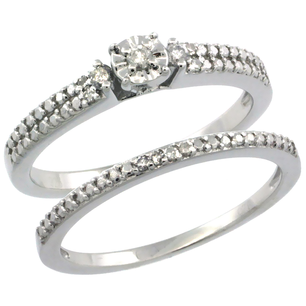 Sterling Silver Diamond Vintage Style 2-Pc. 11-Stone Engagement Ring Set Rhodium Finish, sizes 5 to 10