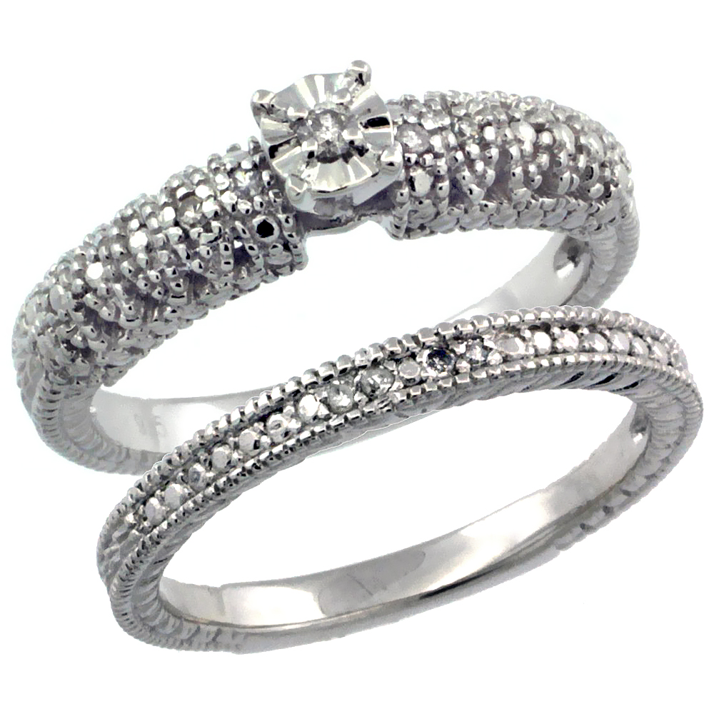 Sterling Silver Diamond Vintage Style 2-Pc. 9-Stone Engagement Ring Set Rhodium Finish, sizes 5 to 10