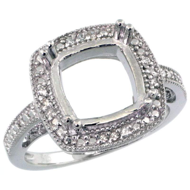 Sterling Silver Diamond Vintage Style Semi Mount Square Stone Ring Rhodium Finish, sizes 5 to 10