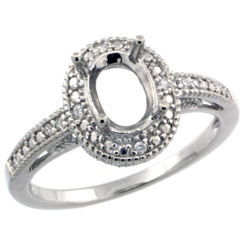 Sabrina Silver Sterling Silver Vintage Style Semi-Mount (8x6 mm) Oval Stone Ring w/ 0.063 Carat Brilliant Cut Diamonds(Available ...