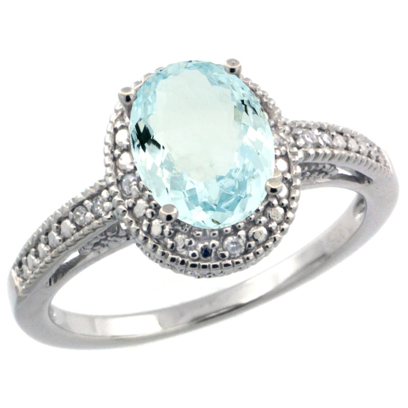 Sterling Silver Diamond Vintage Style Oval Aquamarine Stone Ring Rhodium Finish, 8x6 mm Oval Cut Gemstone sizes 5 to 10