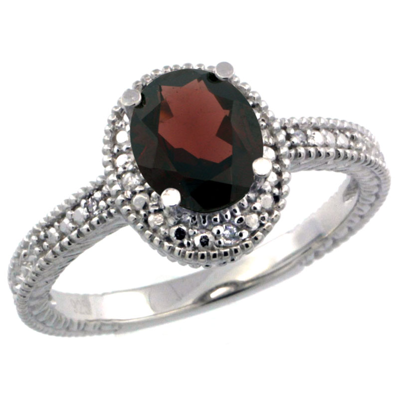 Sterling Silver Diamond Vintage Style Oval Garnet Stone Ring Rhodium Finish, 7x5 mm Oval Cut Gemstone sizes 5 to 10
