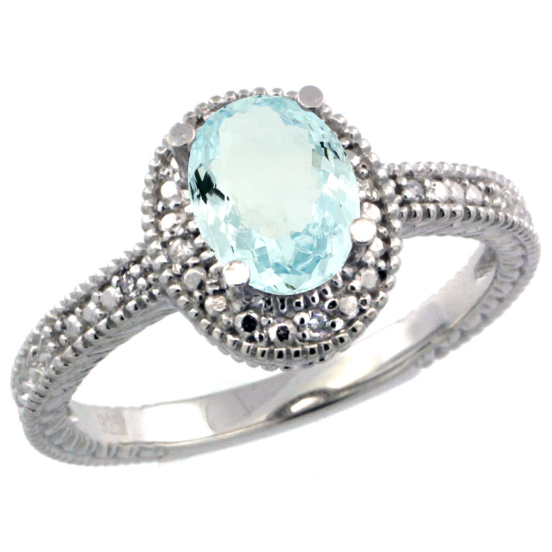 Sterling Silver Diamond Vintage Style Oval Aquamarine Stone Ring Rhodium Finish, 7x5 mm Oval Cut Gemstone sizes 5 to 10