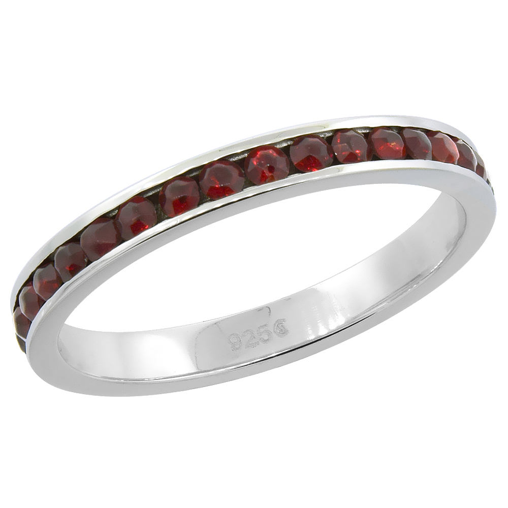 """Sterling Silver Stackable Eternity Band, January Birthstone, Garnet Crystals, 1/8 (3 mm) wide"""""""