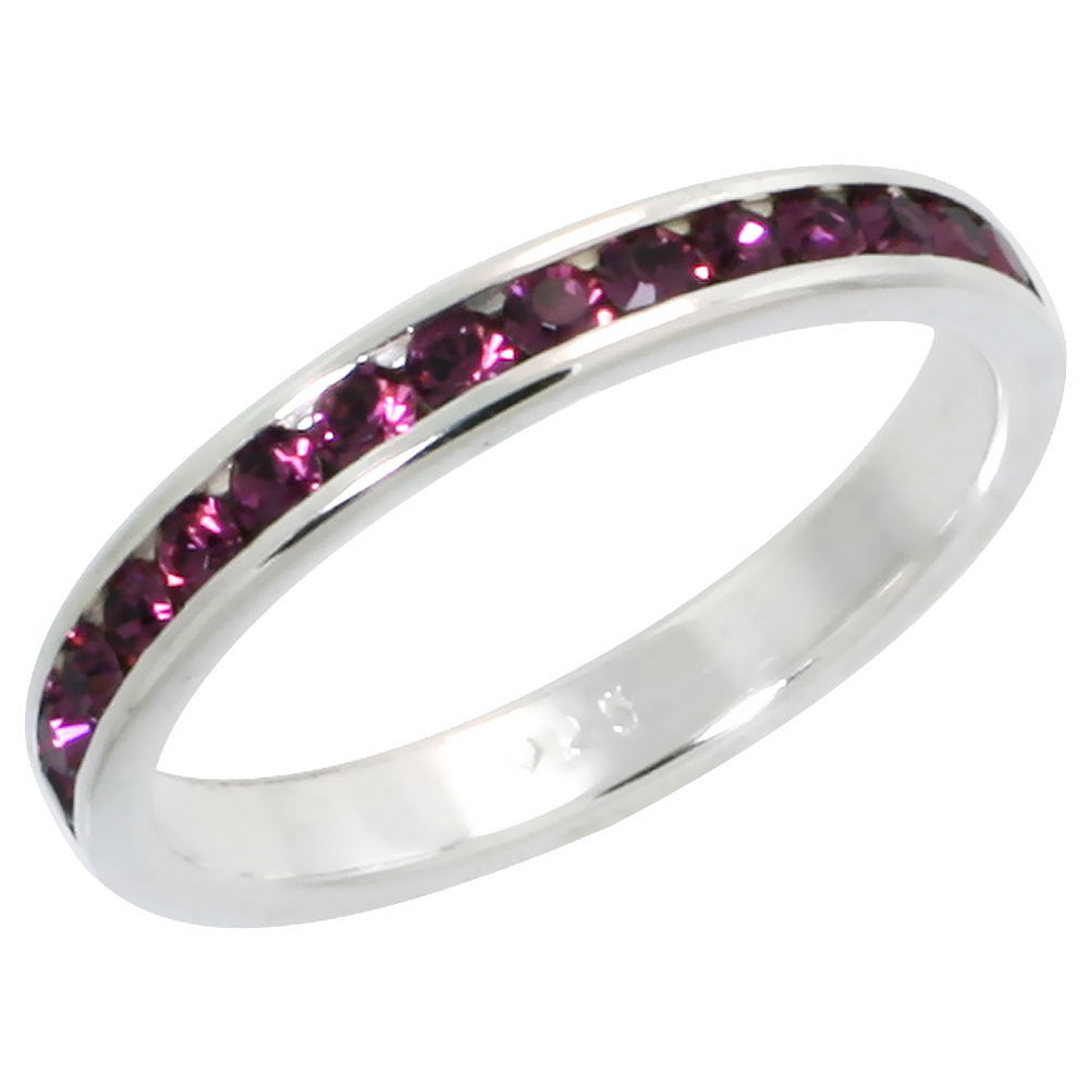 """Sterling Silver Stackable Eternity Band, February Birthstone, Amethyst Crystals, 1/8 (3 mm) wide"""""""