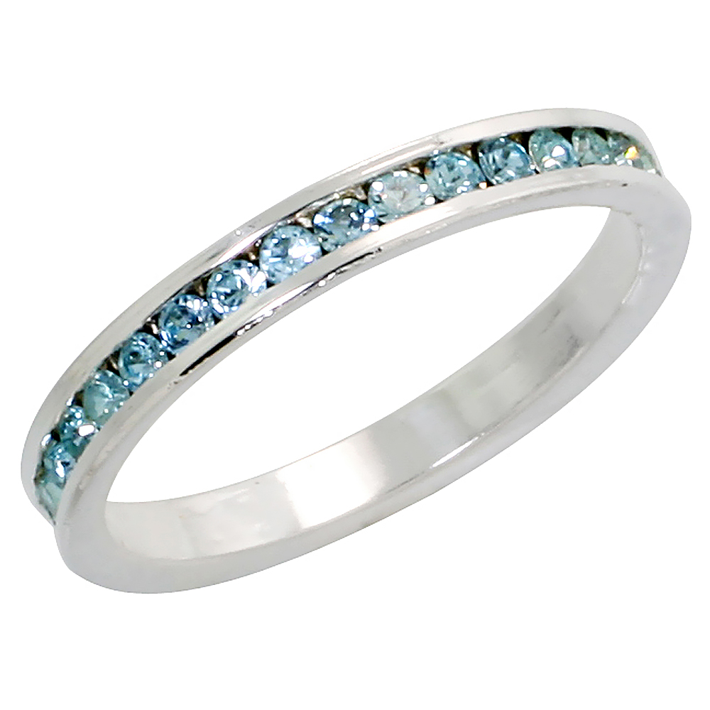 """Sterling Silver Stackable Eternity Band, March Birthstone, Aquamarine Crystals, 1/8 (3 mm) wide"""""""