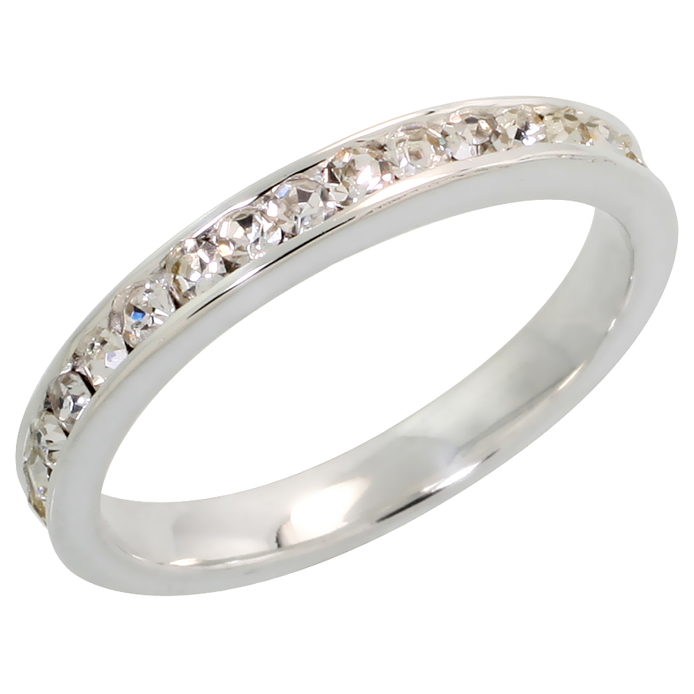 """Sterling Silver Stackable Eternity Band, April Birthstone, Clear Crystals, 1/8 (3 mm) wide"""""""