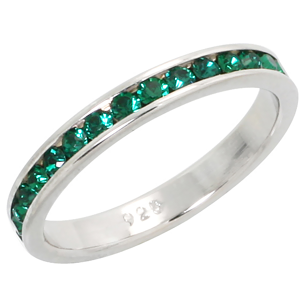 """Sterling Silver Stackable Eternity Band, May Birthstone, Emerald Crystals, 1/8 (3 mm) wide"""""""