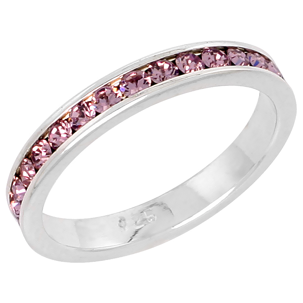 """Sterling Silver Stackable Eternity Band, June Birthstone, Alexandrite Crystals, 1/8 (3 mm) wide"""""""