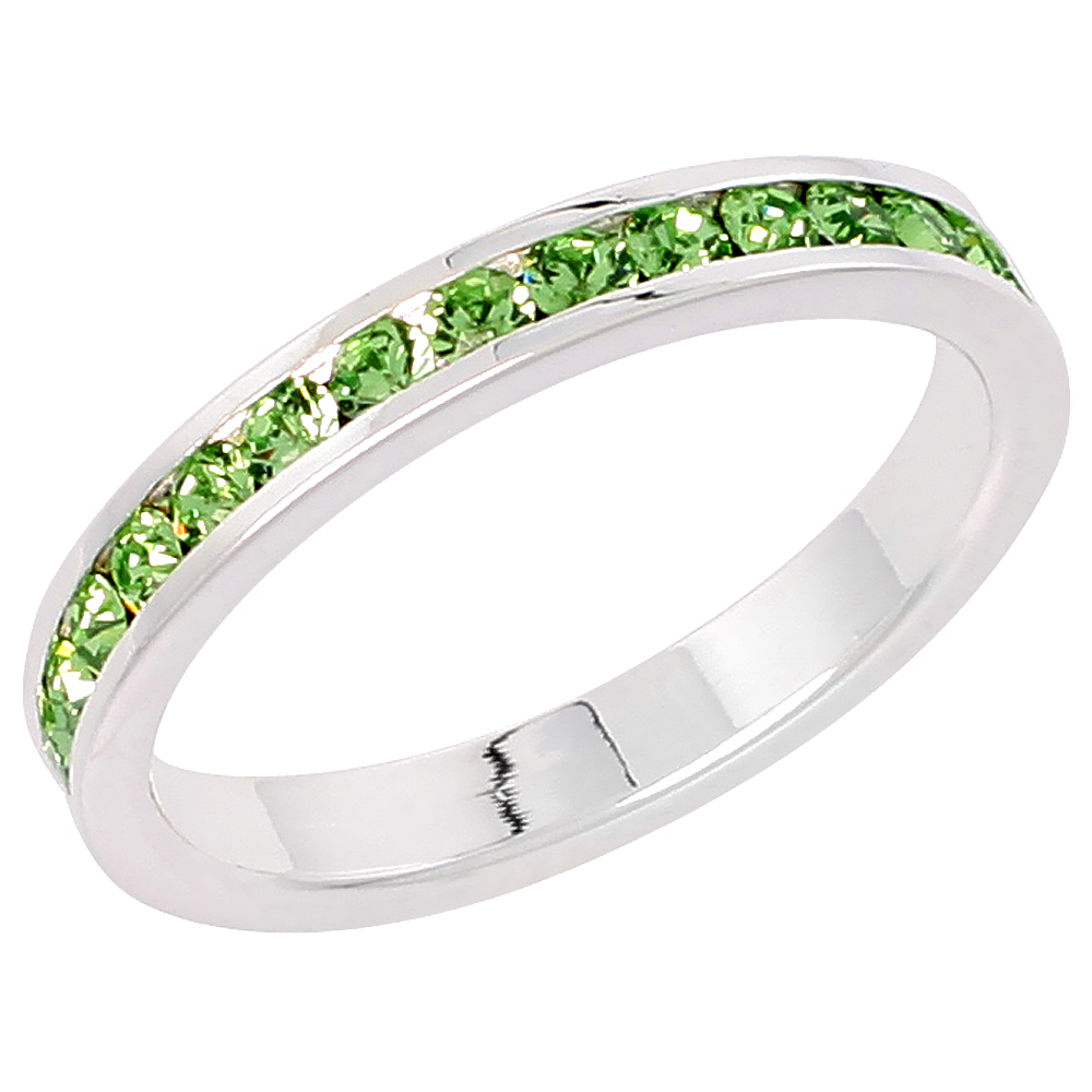 """Sterling Silver Stackable Eternity Band, August Birthstone, Peridot Crystals, 1/8 (3 mm) wide"""""""