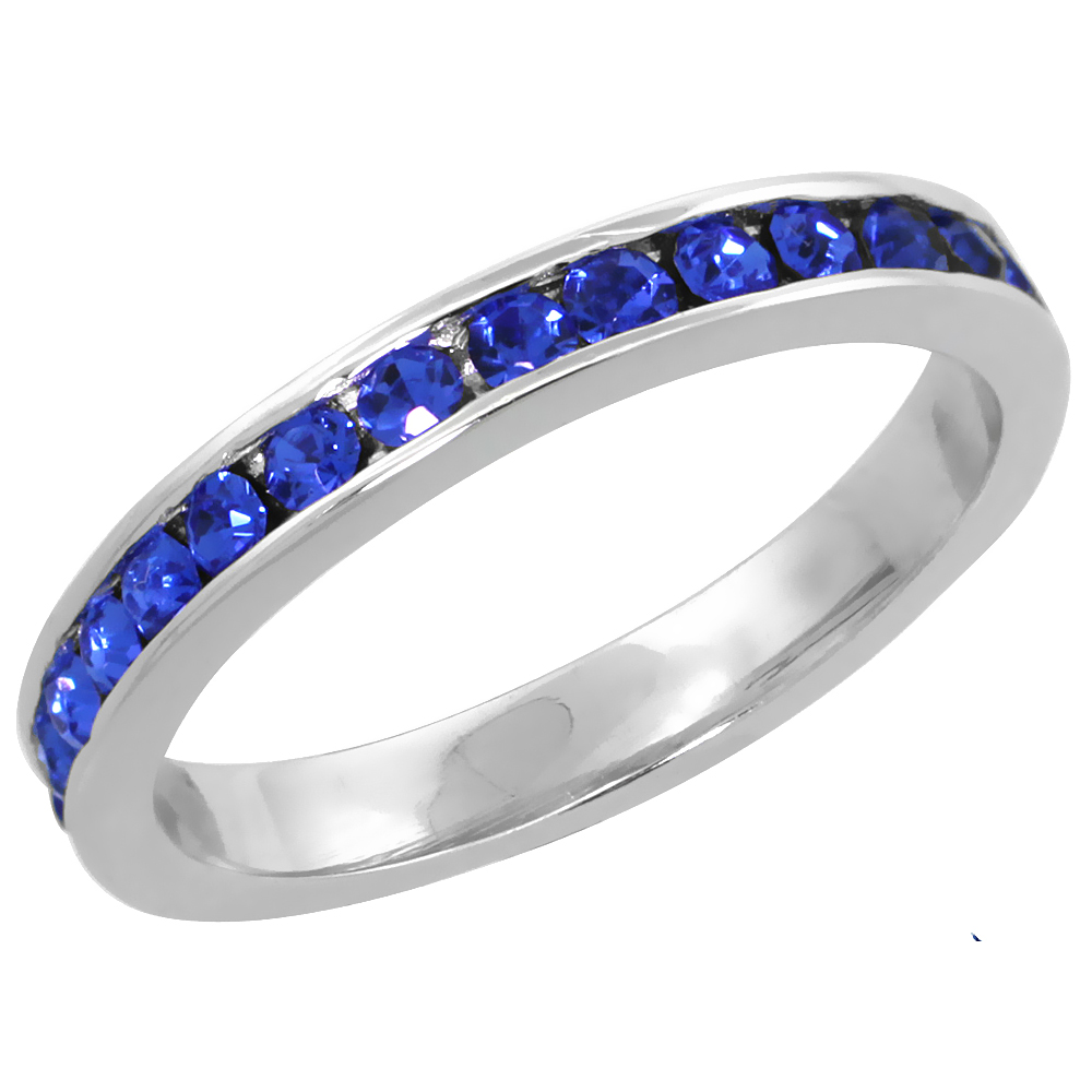 """Sterling Silver Stackable Eternity Band, September Birthstone, Sapphire Crystals, 1/8 (3 mm) wide"""""""