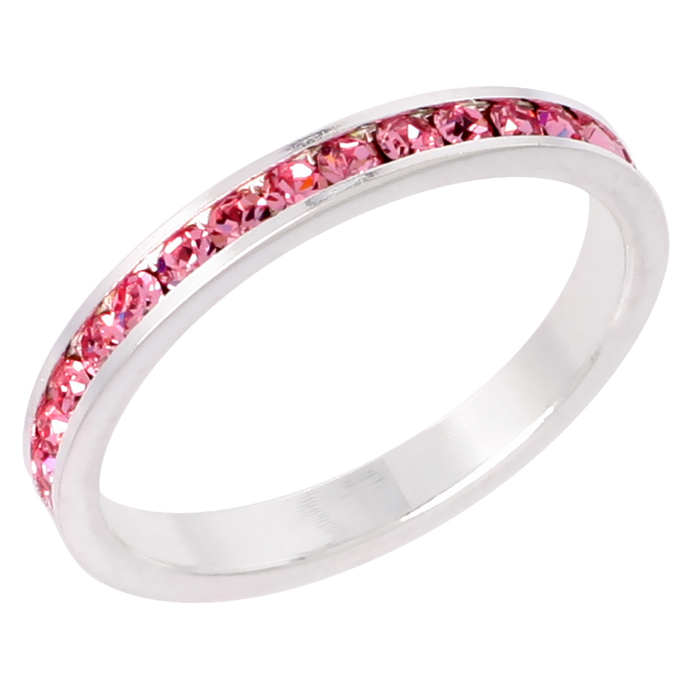"""Sterling Silver Stackable Eternity Band, October Birthstone, Pink Tourmaline Crystals, 1/8 (3 mm) wide"""""""