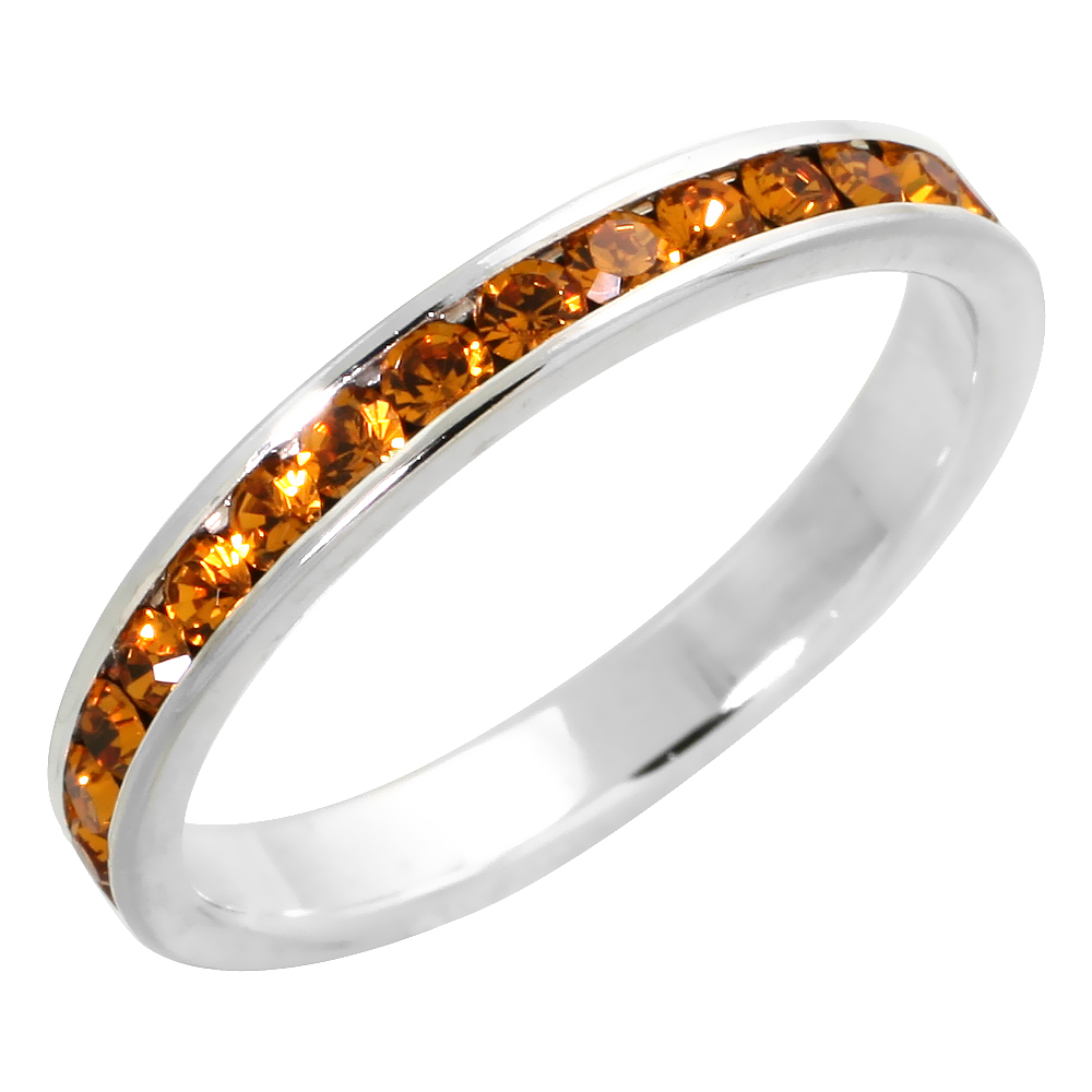 """Sterling Silver Stackable Eternity Band, November Birthstone, Citrine Crystals, 1/8 (3 mm) wide"""""""