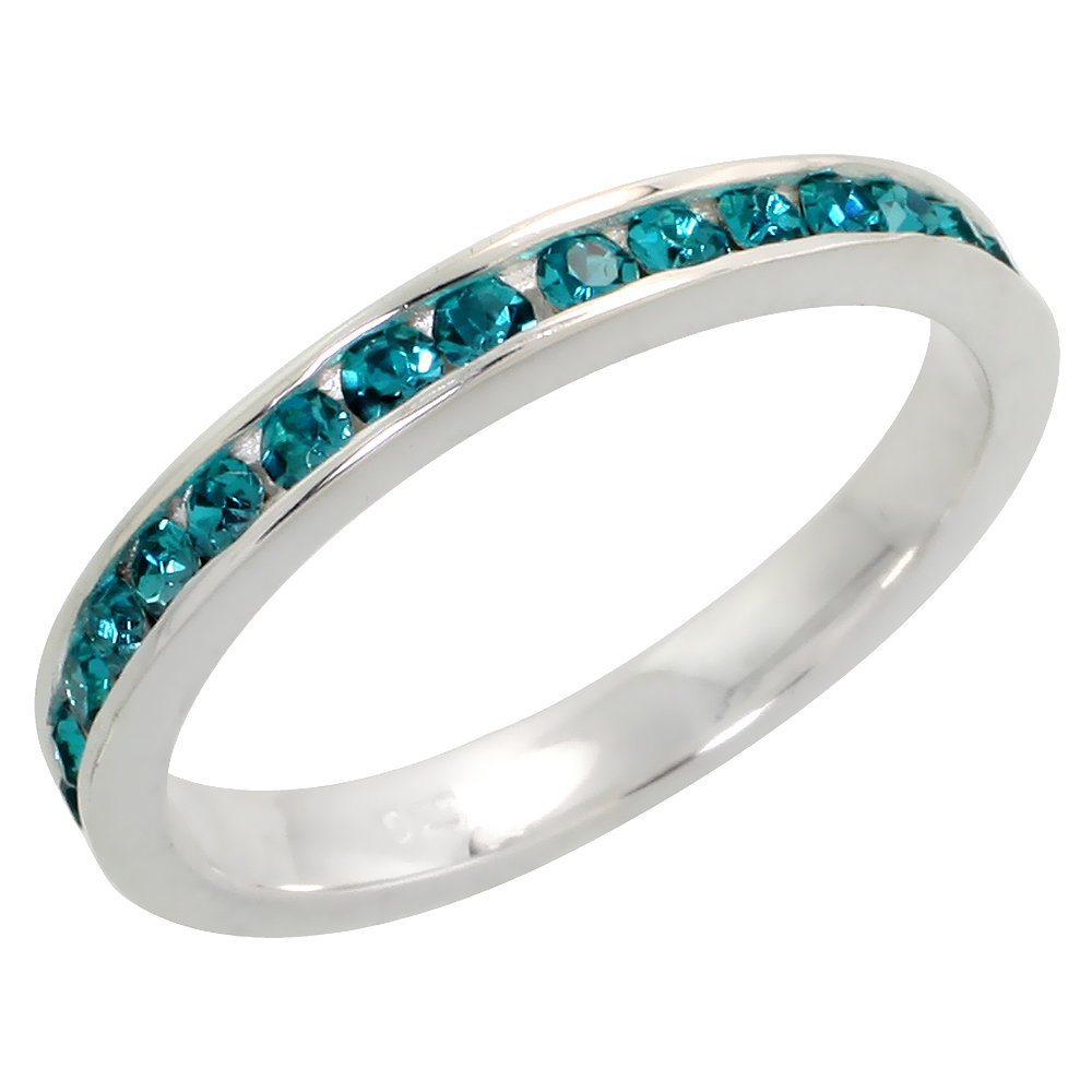 """Sterling Silver Stackable Eternity Band, December Birthstone, Blue Topaz Crystals, 1/8 (3 mm) wide"""""""