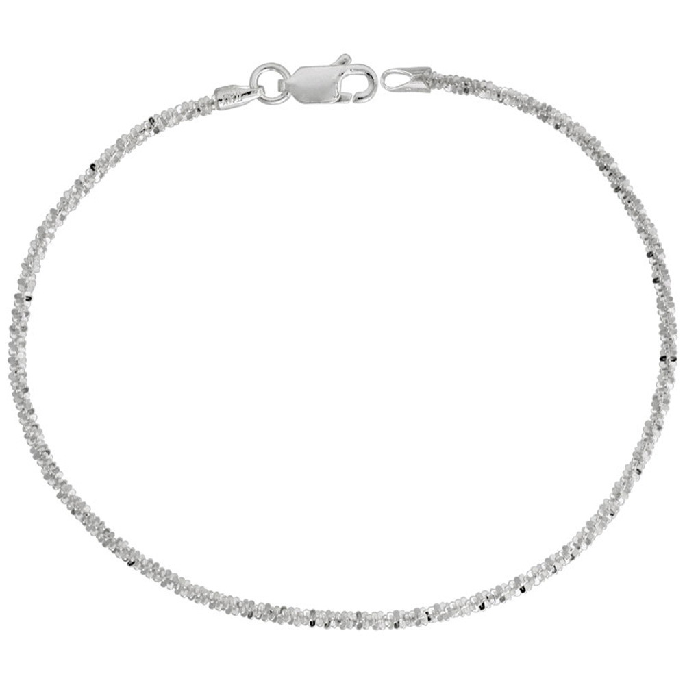 Sterling Silver Sparkle Chain Necklaces & Bracelets 1.8mm Diamond cut Rock Chain Nickel Free Italy, 7-30 inch