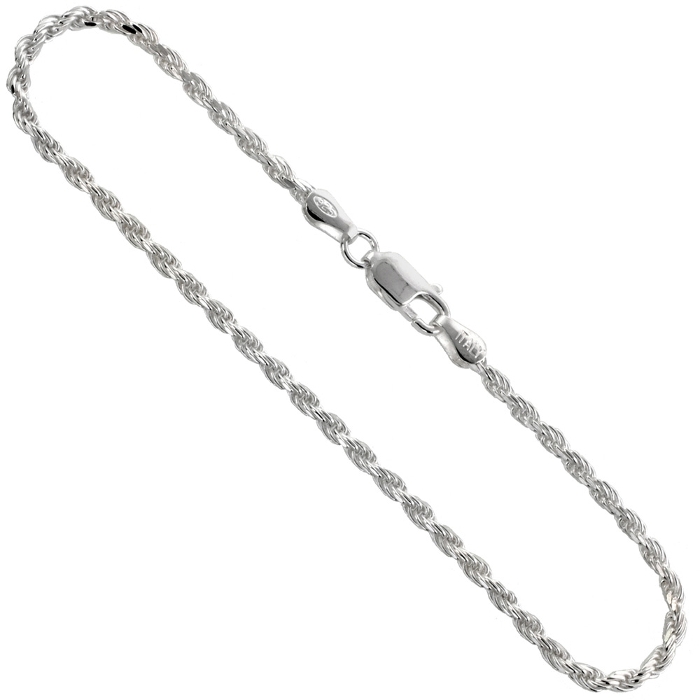Sterling Silver Anklet Rope Chain 2.3 mm Nickel Free Italy, sizes 9 - 10 inch