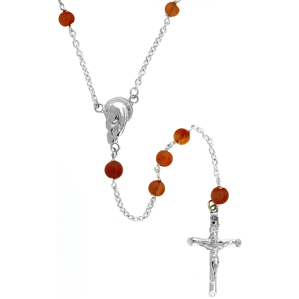 Sterling Silver Natural Carnelian Rosary Necklace 5mm Beads Mother Mary Center, 26 inch