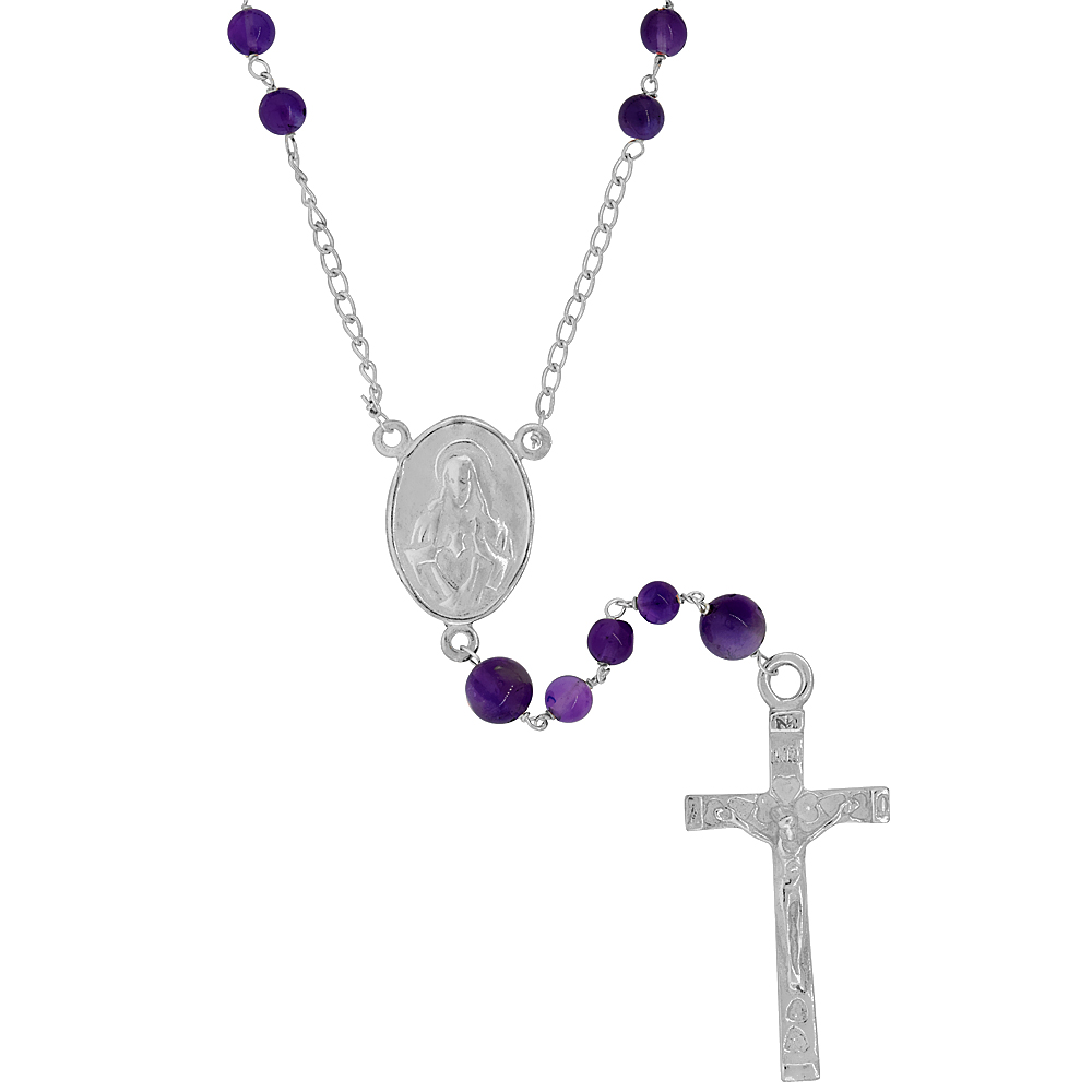 Sterling Silver Natural Amethyst Rosary Necklace 6mm Beads Mother Mary & Sacred Heart of Jesus Center, 30 inch