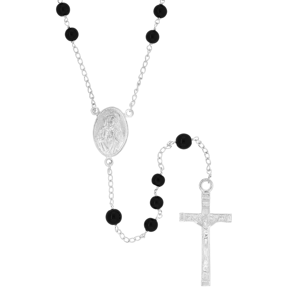 Sterling Silver Natural Black Onyx Rosary Necklace 6mm Beads Mother Mary & Sacred Heart of Jesus Center, 30 inch