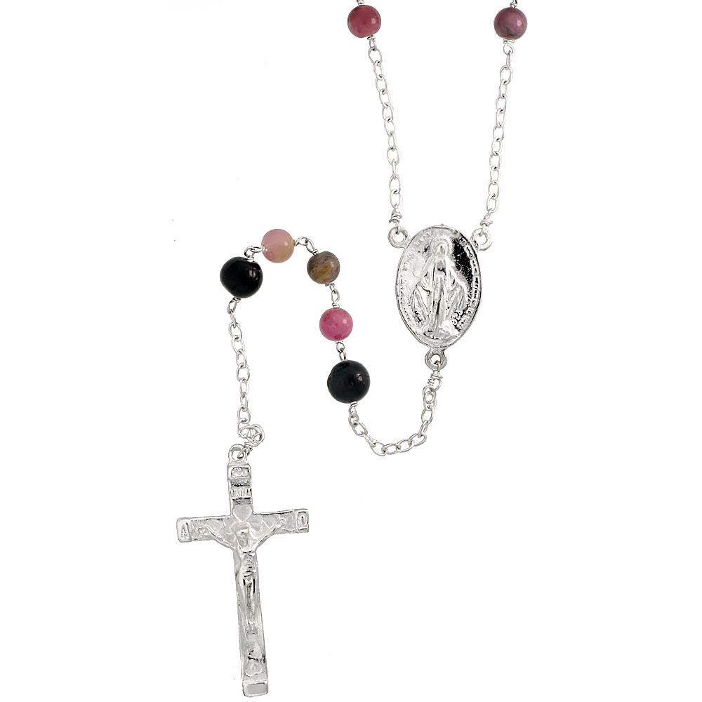 Sterling Silver Natural Tourmaline Rosary Necklace 6mm Beads Mother Mary & Sacred Heart of Jesus Center, 30 inch
