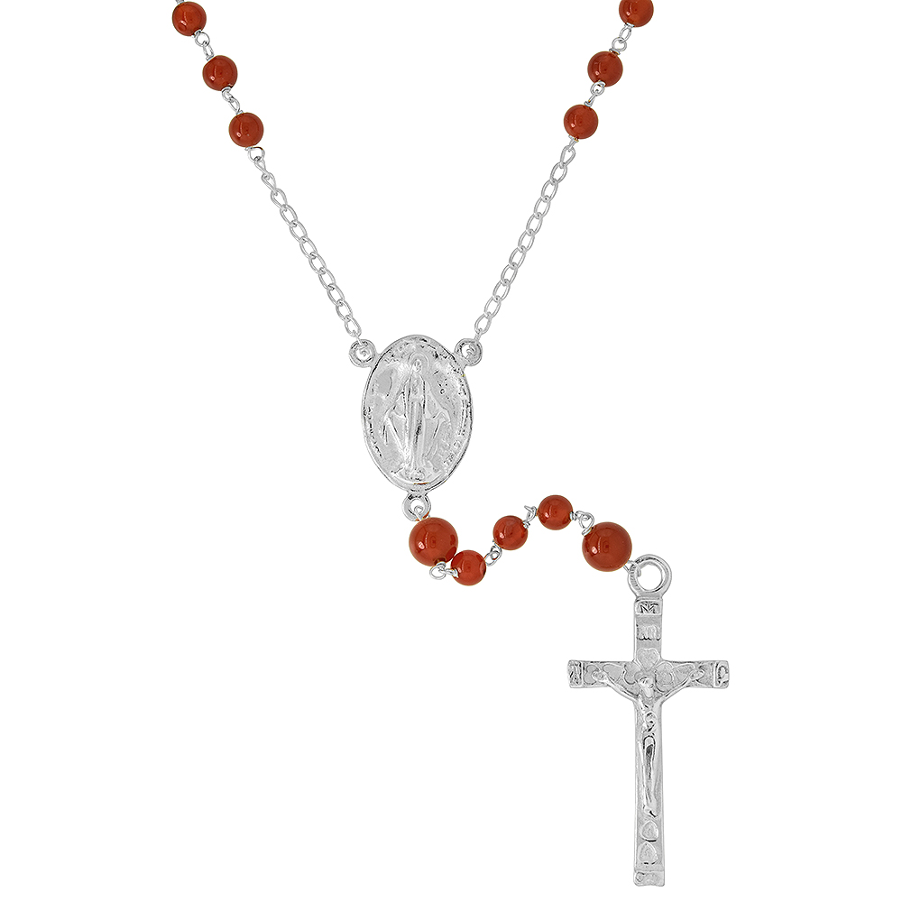 Sterling Silver Natural Carnelian Rosary Necklace 6mm Beads Mother Mary & Sacred Heart of Jesus Center, 30 inch