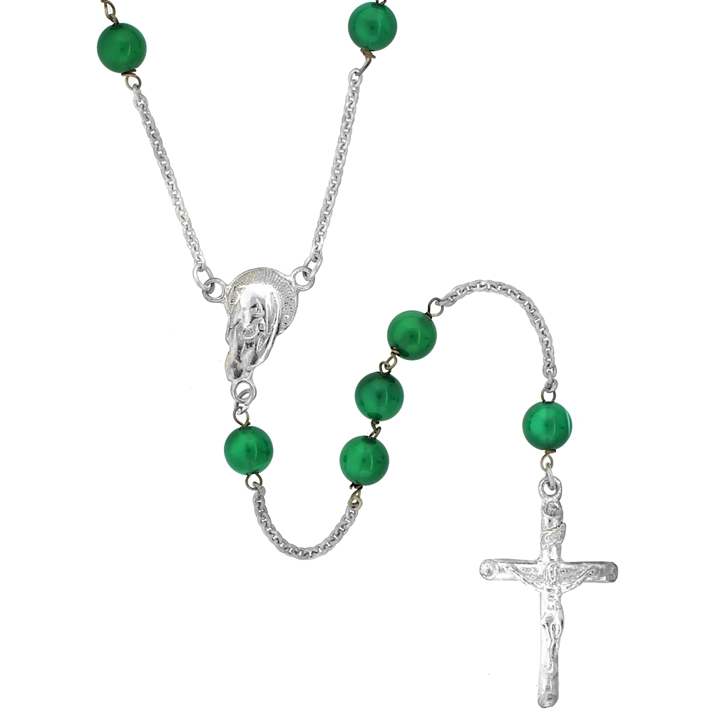 Sterling Silver Natural Green Onyx Rosary Necklace 6mm Beads Mother Mary Center, 26 inch