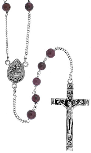 Sterling Silver Natural Garnet Rosary Necklace 6mm Beads Mother Mary Center, 30 inch