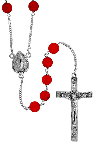 Sterling Silver Rosary Necklace 6mm Natural Carnelian Beads Mother Mary Center, 30 inch