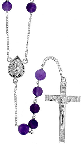 Sterling Silver Natural Amethyst Rosary Necklace 6mm Beads Mother Mary Center, 30 inch