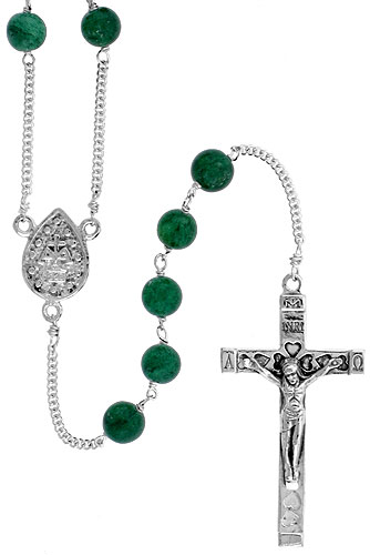 Sterling Silver Natural Green Onyx Rosary Necklace 6mm Beads Mother Mary Center, 30 inch