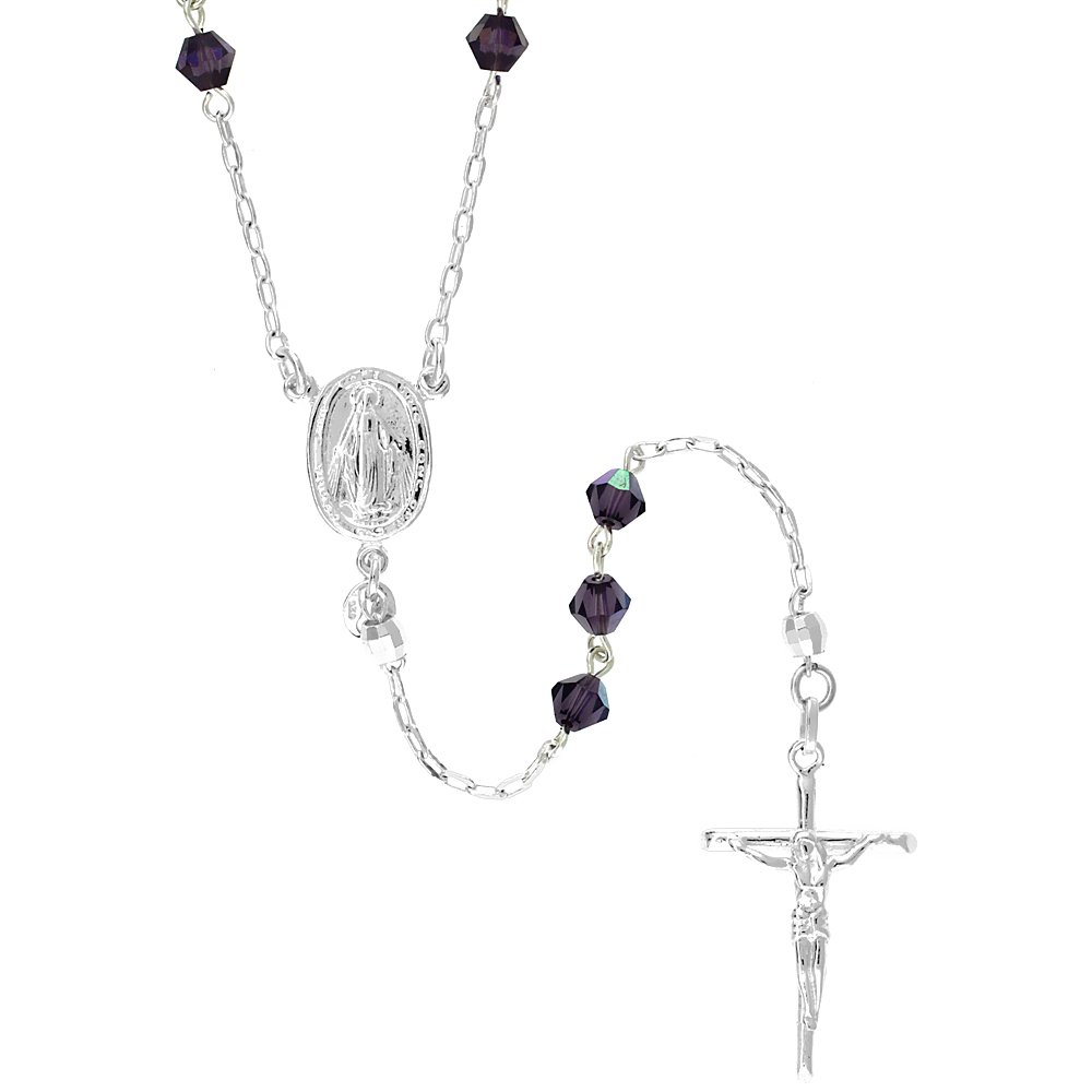 Sterling Silver Rosary Necklace w/ Amethyst colored Bicone Swarovski Crystal Beads, 26 inch