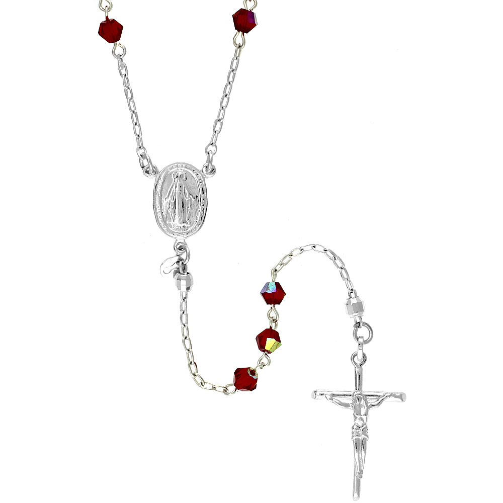 Sterling Silver Rosary Necklace w/ Ruby Red Bicone Swarovski Crystal Beads, 26 inch