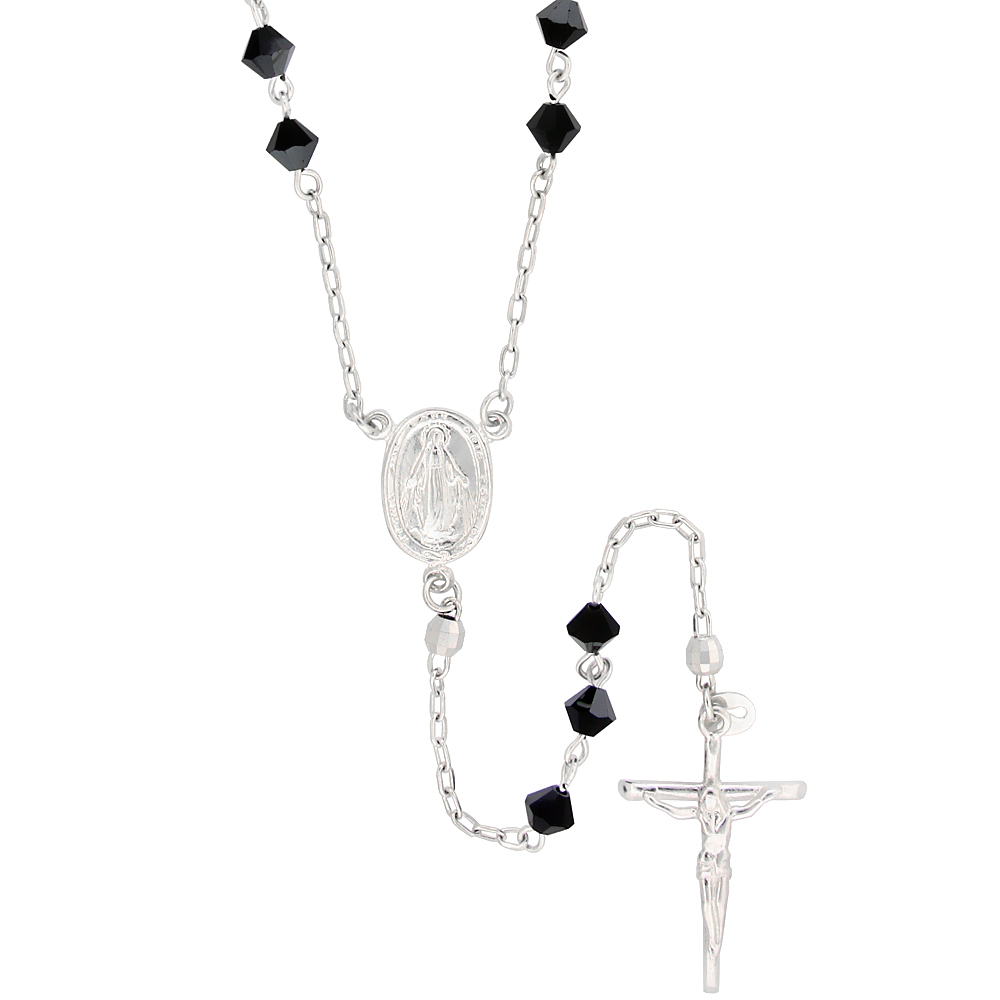 Sterling Silver Rosary Necklace w/ Black Bicone Swarovski Crystal Beads, 26 inch