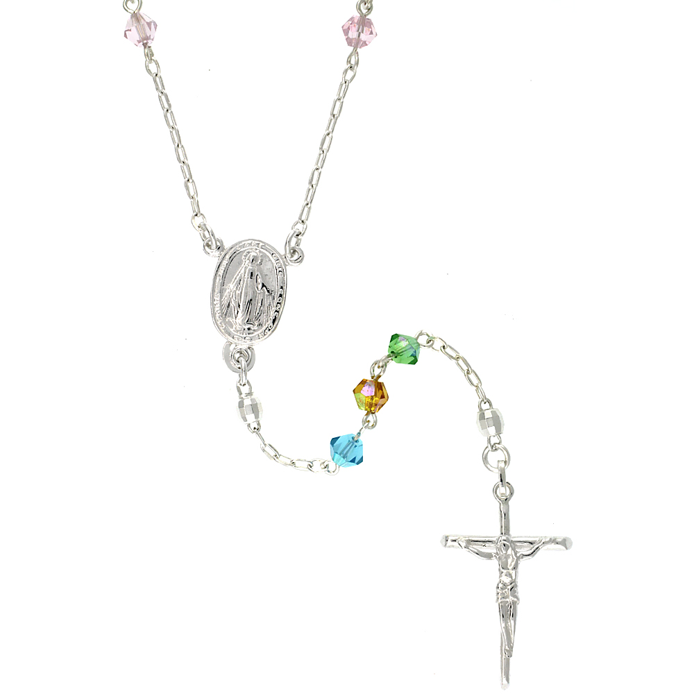 Sterling Silver Rosary Necklace w/ Multi Color Bicone Swarovski Crystal Beads, 26 inch