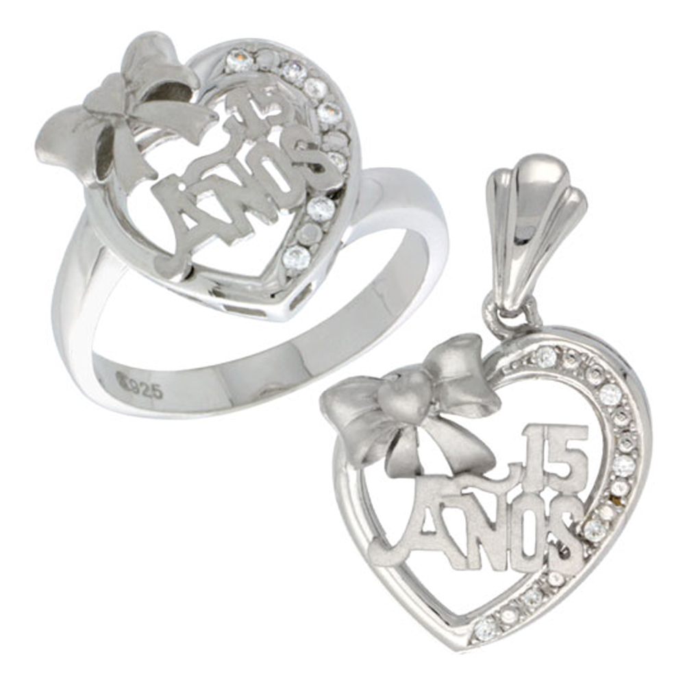 Sterling Silver Quinceanera 15 Anos Bow Heart Ring & Pendant Set CZ Stones Rhodium Finished