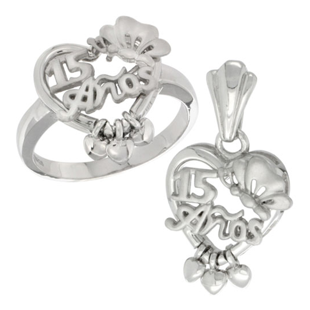 Sterling Silver Quinceanera 15 Anos Butterfly Triple Hearts Ring & Pendant Set, Rhodium Finished