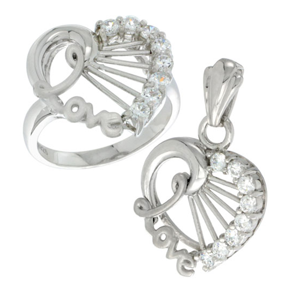 Sterling Silver LOVE Heart Ring & Pendant Set CZ Stones Rhodium Finished