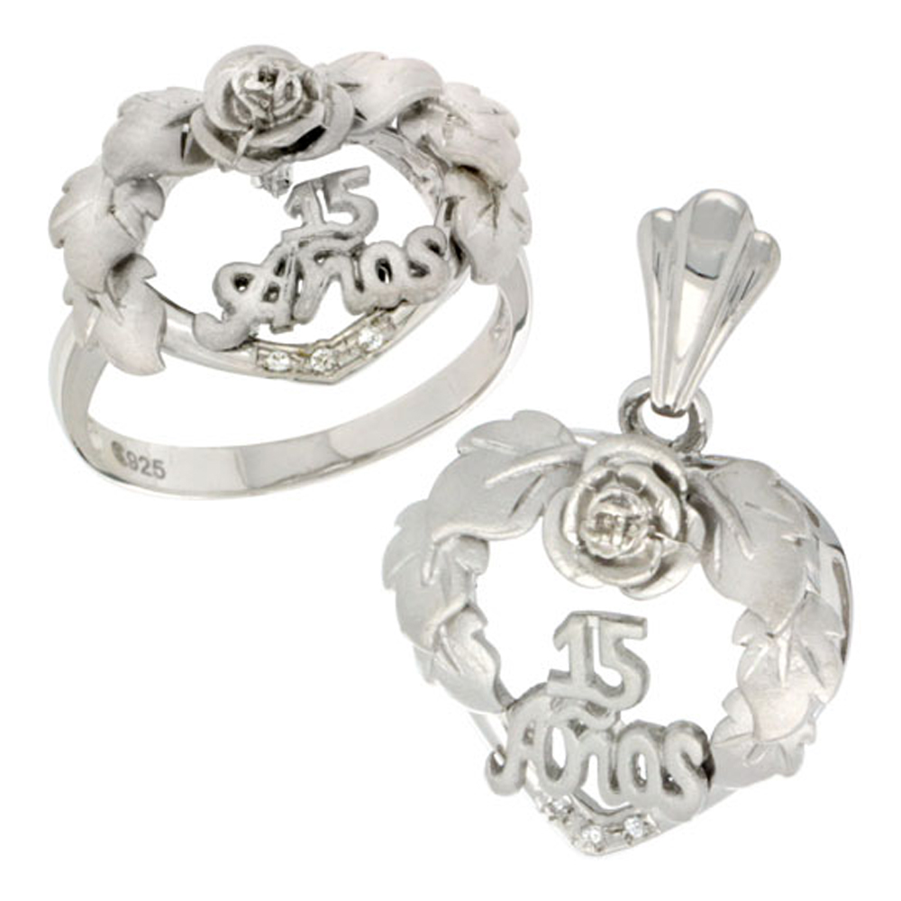 Sterling Silver Quinceanera 15 Anos Heart Wreath Ring & Pendant Set CZ Stones Rhodium Finished