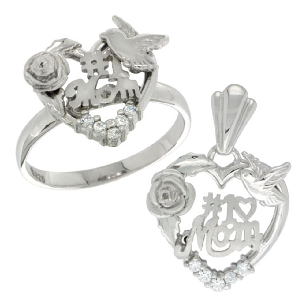 Sterling Silver #1 Mom Ring & Pendant Set CZ Stones Rhodium Finished