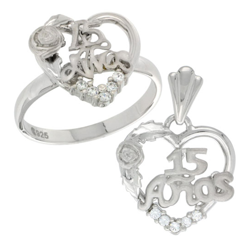 Sterling Silver Quinceanera 15 Anos Rose Ring & Pendant Set CZ Stones Rhodium Finished